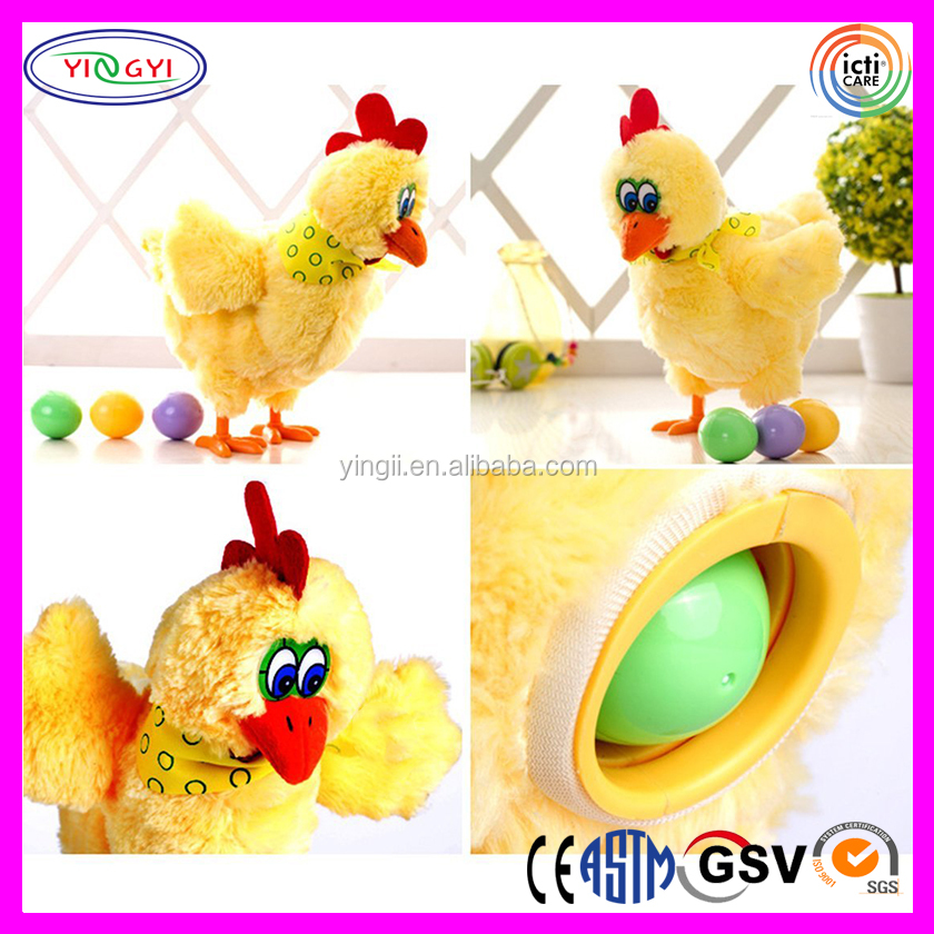 Interesting Laying Egg Electric Plush Chicken With Lights Sound Music Toy