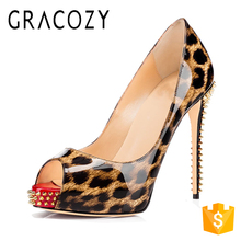 2017 Bulk Wholesale 16cm High Heel Platform Leopard Leather Women Shoes