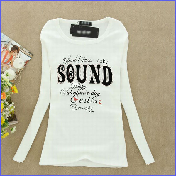 100% cotton words print custom design for ladies long sleeve tshirt