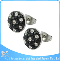 China Jewelry Manufacturer Direct Sale Multicolored Crystal Pave Stud Earrings