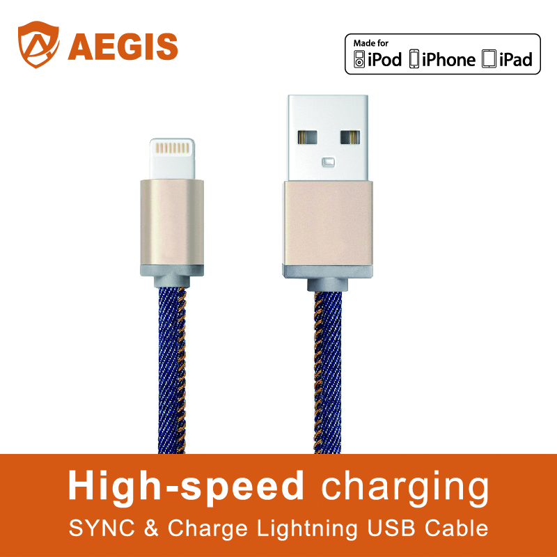 Super quality Jean jacket usb 3.0 micro usb to mini din cable for iPhone 6S