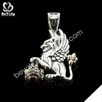 Mysterious flying lion design stainless steel zodiac pendant