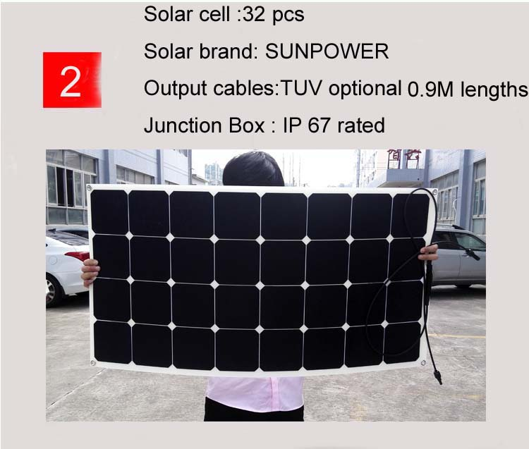 semi flexible solar panel for 12v 24v 36v electric tricycle battery
