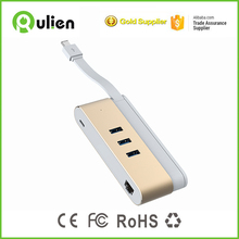 Quick Charger USB Type C 3.1 Super Speed 3-Port Hub with LAN Network Adapter