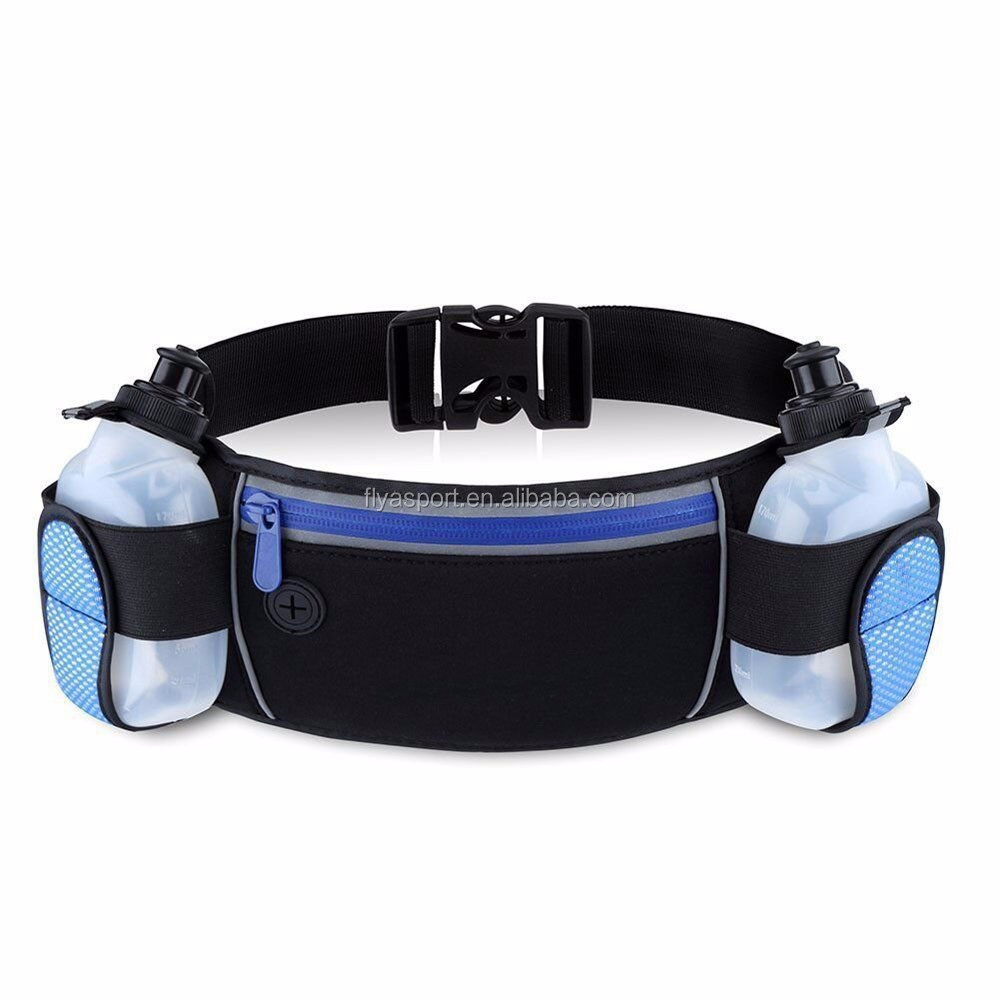 2018 new design running waist bag with water bottle BPA free