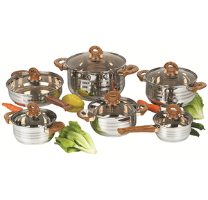 12pcs Milano Wood Look Design Stainless steel cookware set with 3 Satin Line and double gold-plated handle and knob
