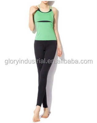 Woman Aerobics Pant Suit Yoga Shirts Body Building Clothing(Green)