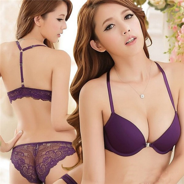 Hot Sale Sexy Ladies Front Button Underwear Deep V Seamless Push Up Lace Bra Set