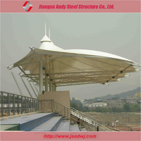 Light weight steel structure of membrane pipe truss construction