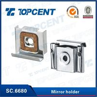 Zinc finish glass holding clips for bathroom mirror