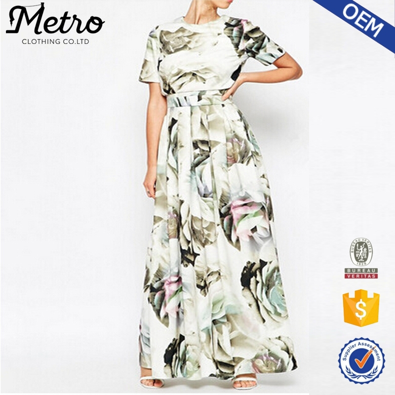 OEM Large Floral Printed Crop Top T-shirt Finery Dress