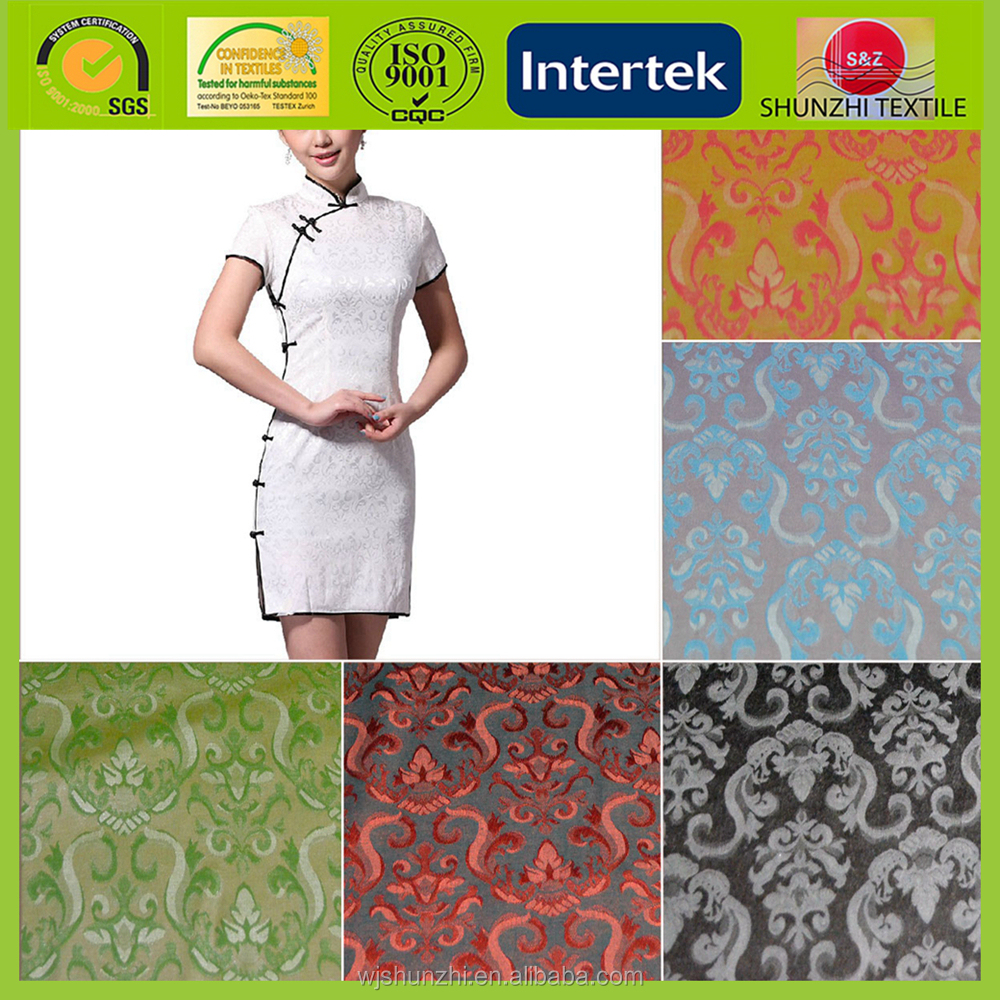 new 100% polyester jacquard brocade silk fabric for Chinese cheongsam