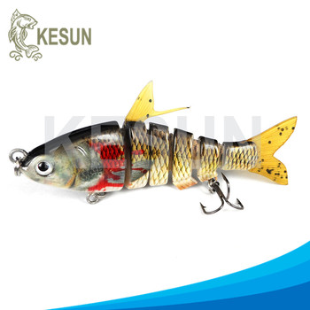 multi jointed fishing lure soft fin soft tail sunfish Kesun lure CH6J05F low MOQ