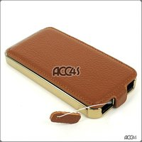 Litchi Pattern Golden Plating Frame Genuine Leather Case for iPhone 4/4S Mobile Phone Case P-iPHN4GHCEX023
