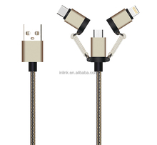 Multi USB Cable Micro 8PIN and USB C 3 in 1 Charger Multiple USB Charging Cord for iPhone, Samsung Phone and iOS Android