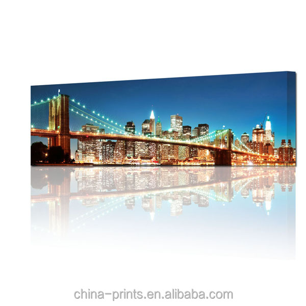 Night Skyline Bridge Panoramic Photo Canvas Art Print