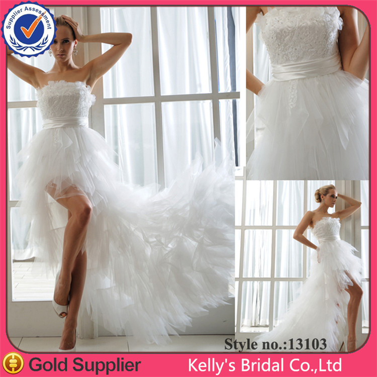KB13103 beautiful strapless A-line tiered lace wedding gown with long trail