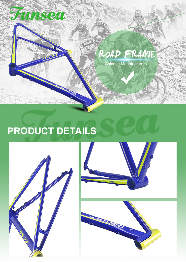 Custom super light aluminum alloy 6061 cycling frameset 700c road bike bicycle frame from China manufacturer Funsea