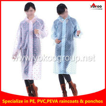 Fashional all over printed EVA long Raincoat for woman