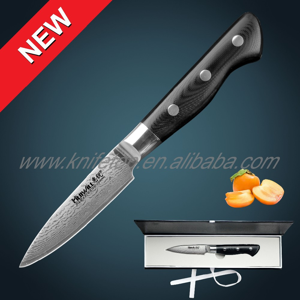 "67 layers Japanese VG10 Damascus steel 3.5"" kitchen paring knife with <strong>forged</strong> G10 handle knife knifes"