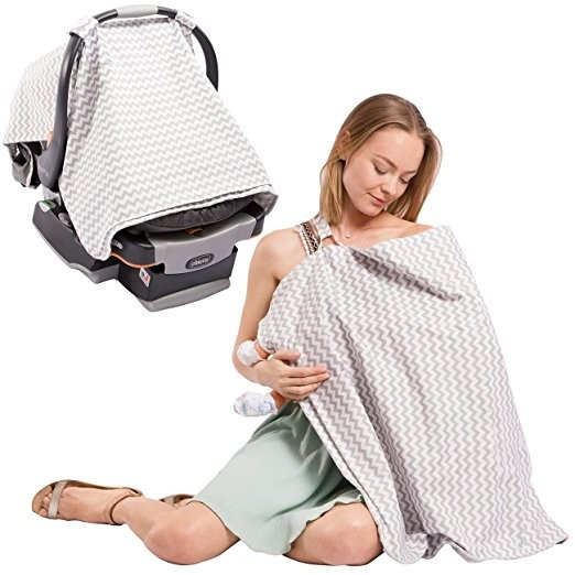 2 in 1 Organic Cotton Breathable Nursing Scarf Cover Up for Breastfeeding and Baby Car Seat Cover