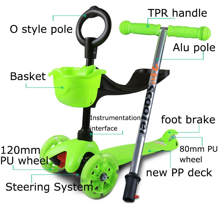 2017 wholesale 3 in 1 kids kick scooter