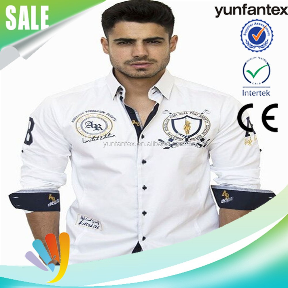 2016 latest design embroidered white shirt