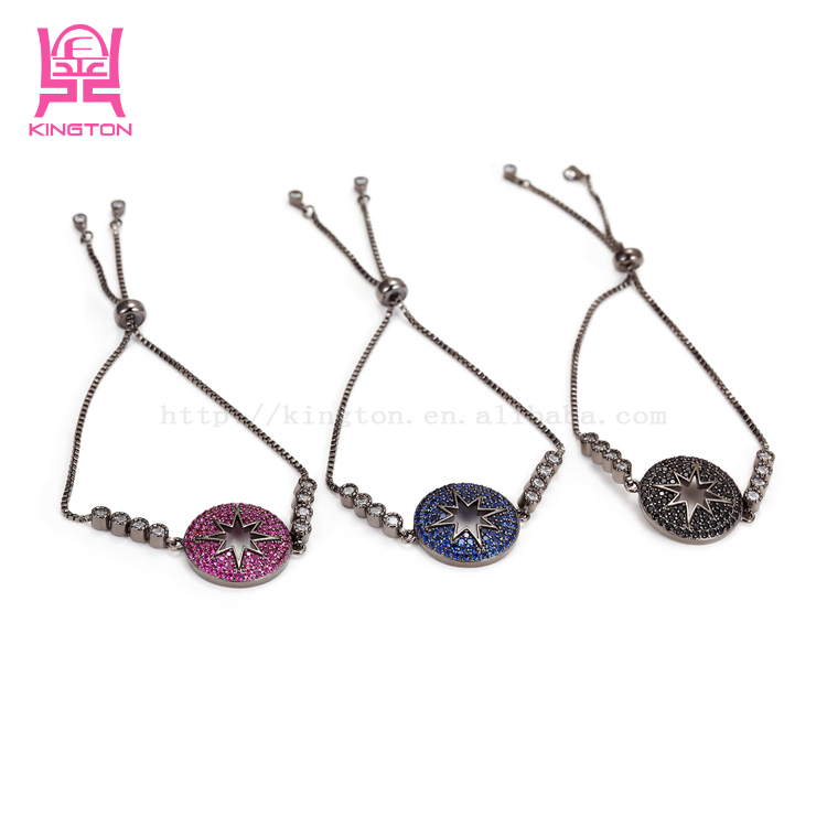 ladies stainless steel start fashion colorful bungee cord bracelet