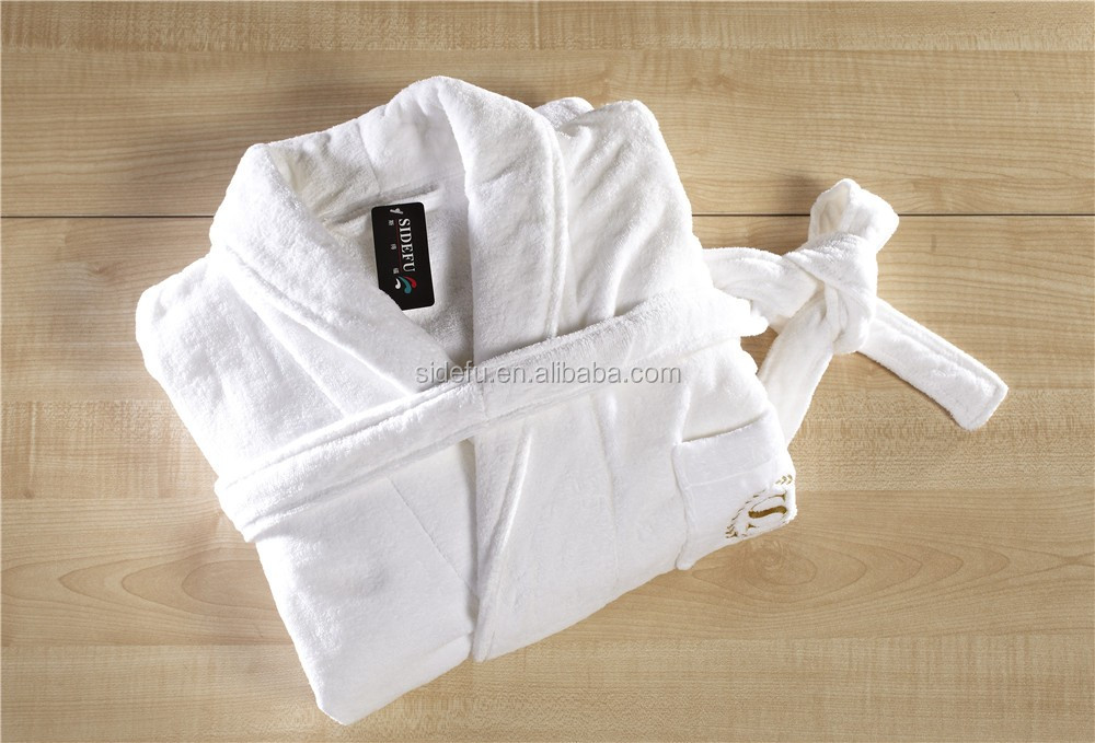 Good quality white unisex velvet velour terry star hotel wholesale cotton bathrobe with embroidered logo