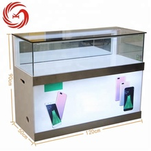 Popular tempered glass shop counter mobile phone display stand