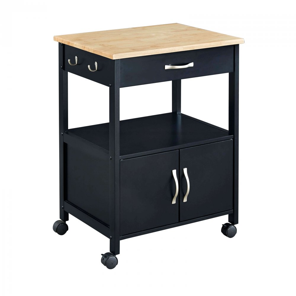 High quality stainless soild wood kitchen cart with wheels and drawers