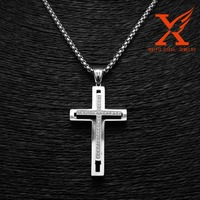 2016 New Trend Products CNC Setting CZ Stainless Steel Silver Jesus Christian Tau Cross Pendant
