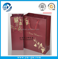 custom Promotional cheap paper red wine box in bag