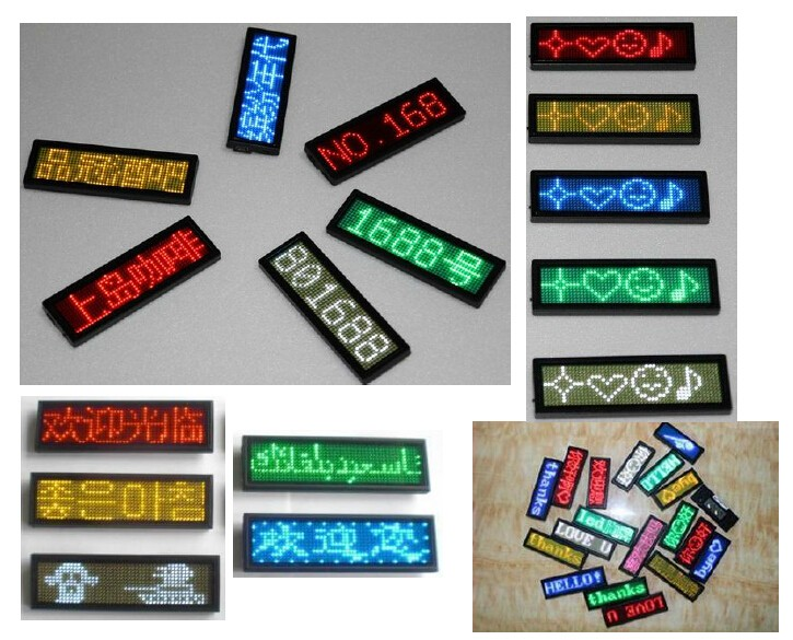 Indoor Usage and text,animaiton Display Function LED name tag