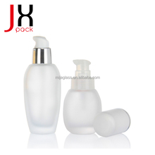 Popular Frosted 30ml Foundation Glass Bottle With Pump For Cosmetic Packaging