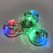 NEW DESIGN Crystal Hand Fidget Spinner LED Flashing Fingertip Spinning Top Toy ADHD Autism Desk Focus Toys for Kids Adult