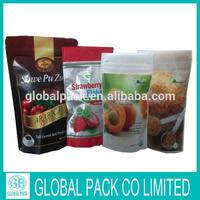 Hot selling dried fruit bag stand up food pouch with zipper