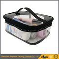 easy carrying professional clear pvc waterproof pvc makeup cosmetic bag, luxury EVA mesh cosmetic bag with zipper