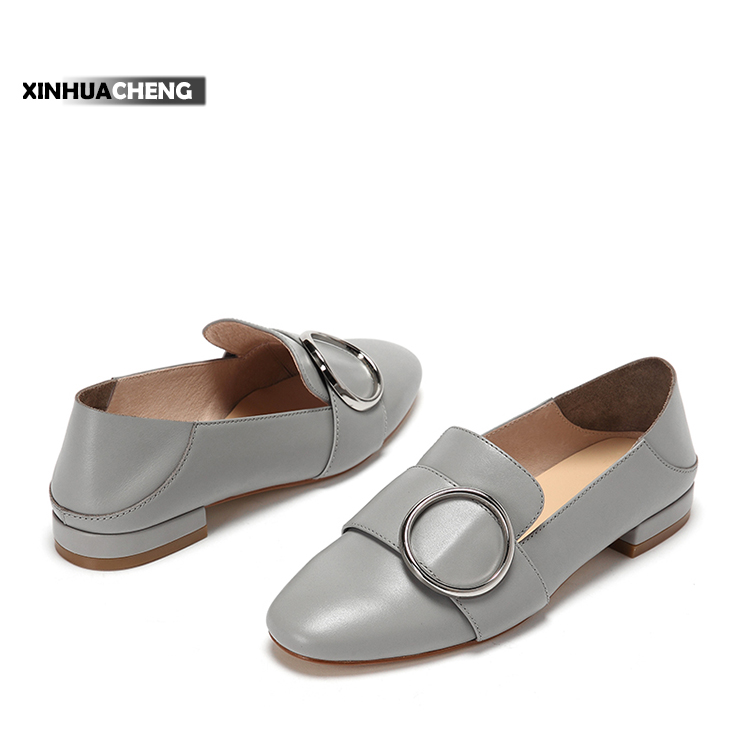 women fashion metal ring ornament low-heeled shoes