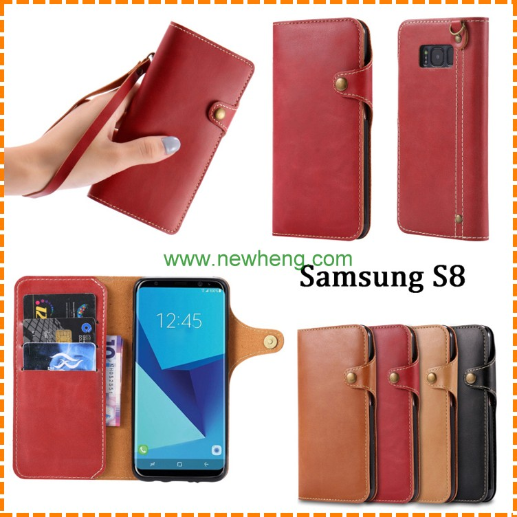 New Products Button Triangle buckle pu leather stand case for Samsung Galaxy s8