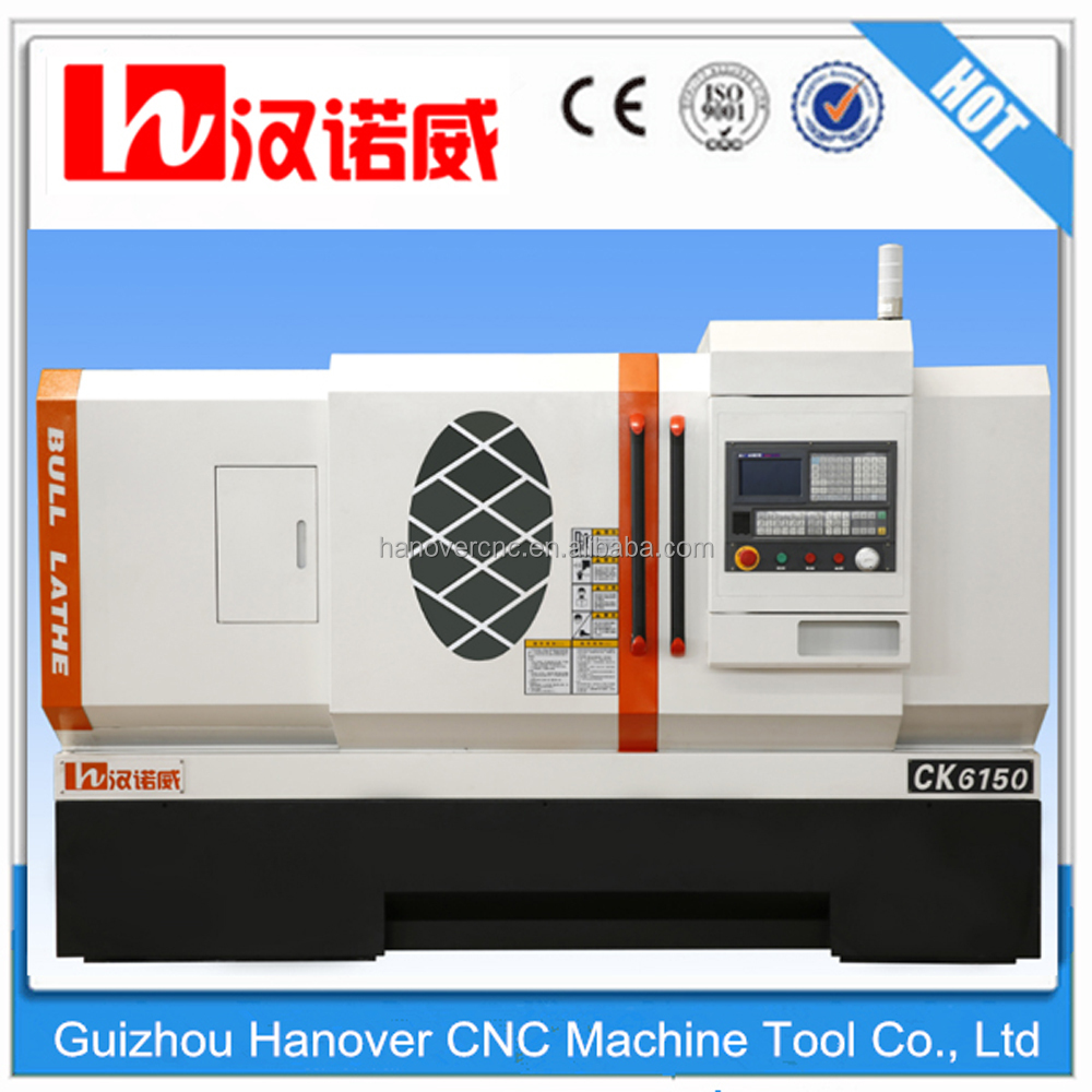 CK6150 China High precision CNC metal lathe cutting tools with 10'' chuck 4/6/8 station tool turret 82mm spindle bore