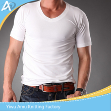 Mens Body Muscle Fit Dry Blank T Shirts Men Slim Fit White V Neck Plain t-shirts Good Quality Stretchy Cotton Clothes