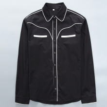 China clothing manufacturer white trim black men's shirt long sleeve blouses