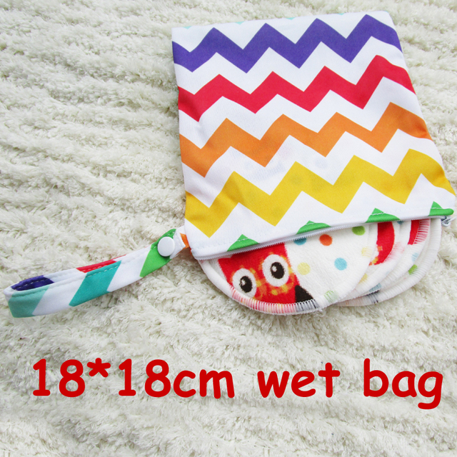 18*18cm printed waterproof PUL wet bag, nursing pads bag, day and night sanitary pads bag, nappy bags in 15 colors
