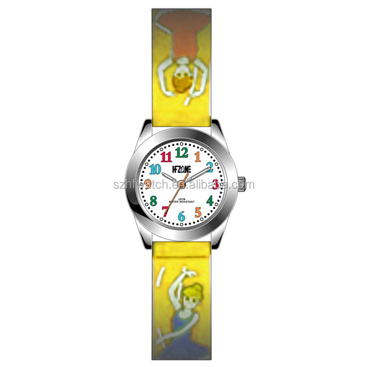 stylish 3D ballet girl yellow silicone kids wrist watch