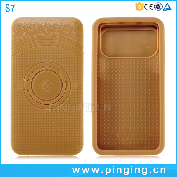 Universal push silicone phone case for samsung galaxy s7 mobile phone with pc ring kickstand cover
