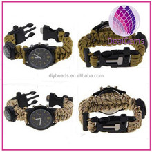 Outdoor survival braided paracord bracelet with watch and compass and whistle and fire starter