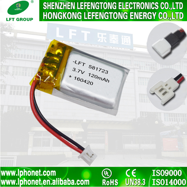 3.7v 120mah bateries li-po li-polymer battery 581723 3.7v 120mah lithium polymer battery for speaker