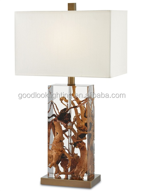 (C)UL&ETL listed Modern transparent resin natural raw wood roots material hotel table lamp/desk lamp