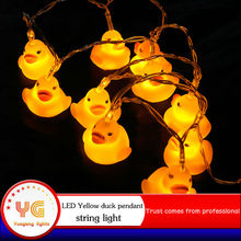 Small yellow duck 2m10 LEDs battery lights New year lamps Holiday Christmas decoration lights Fairy Wedding Light